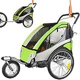 Remolque de bicicleta ebikeco 4 Verde, suspension, rueda 360º, 2 plazas 504S-02