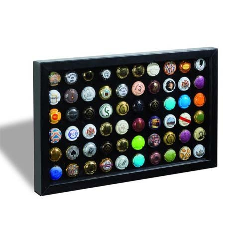 Marco de presentación FINESTRA P60 para 60 placas de champán/chapas de botellas, negro