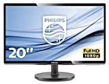 "Philips 200V4QSBR Monitor 20"" LED con Pannello MVA, Full HD, 1920 x 1080, DVI, VGA, Inclinabile, Contrasto Statico 3000:1, Attacco VESA, Nero"