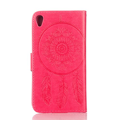 Coque pour Apple iPhone 6s Plus(5.5 Zoll ),Housse en cuir pour Apple iPhone 6s Plus(5.5 Zoll ),Ecoway Campanula motif floral étui en cuir PU Cuir Flip Magnétique Portefeuille Etui Housse de Protection Rose Rouge