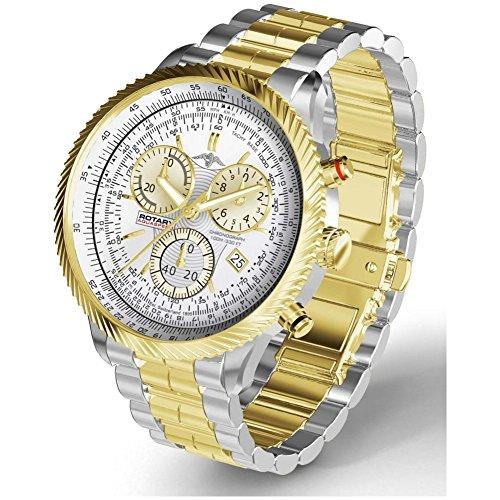 Rotary AGB00046-C-06 - Reloj para hombres, correa de acero inoxidable color dorado