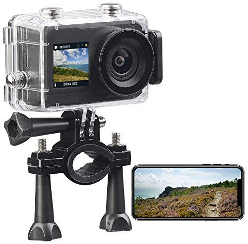 Somikon 4K Action Cam: UHD-Action-Cam mit 2 Displays, WLAN und Marken-Bildsensor, IPX8 (Motorrad Dashcam)
