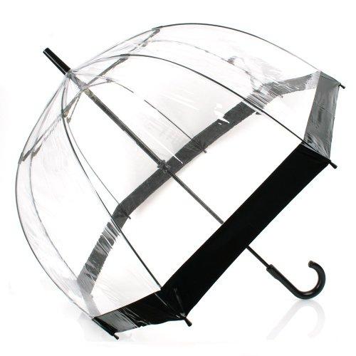 Regenschirm mit schwarzer Zierleiste und schwarzem Griff, tiefe Kuppelform für hohen Schutz, durchsichtig