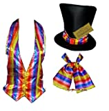Willy Wonka Fancy dress costume items Childs size to Plus size (Cravat Full Set, Adults uk 8-14)