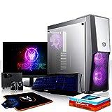 Fierce Raptor RGB Gaming PC Bundeln - Schnell 6 x 4.8GHz Hex-Core Intel Core i5 8600K, All-In-One Flüssigkühler, 480GB Solid State Drive, 16GB von 2666MHz DDR4 RAM / Speicher, NVIDIA GeForce GTX 1070 8GB, Gigabyte Z370 HD3 Hauptplatine, Cooler Master MasterBox MB500 RGB Computergehäuse, HDMI, USB3, Wi - Fi, VR Bereit, 4K Bereit, Perfekt für High-End-Spiele, Windows 10 installiert, Tastatur (QWERTZ), Maus, 24-Zoll-Monitor, Lautsprecher, 3 Jahre Garantie 1043973