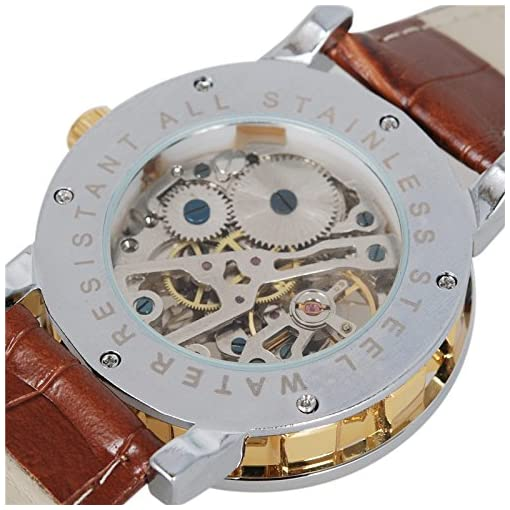 Gute Retro Men's Skeleton Hand Wind Mechanical Analogue Wrist Watch Roman Numeral Brown Leather Strap Luminous Hands Golden Dial