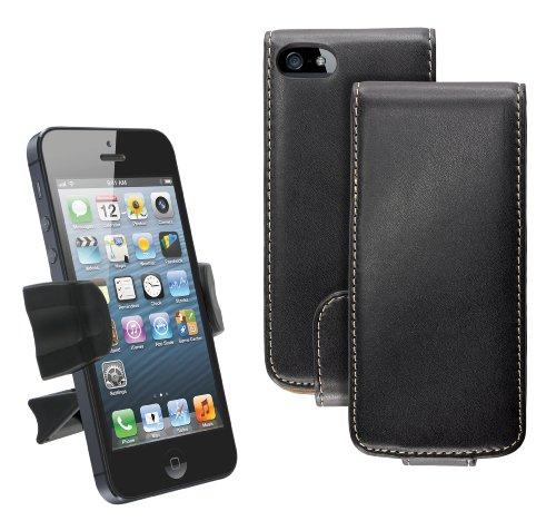 Caseit iPhone 5/5S Starterpaket mit PU Leather Flip Hülle Case Cover in Lederoptik und Auto Halterung KFZ-Halterung für den Lüftungsschlitz - Schwarz (Air Kit Mount Vent)
