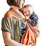 Shabany® - Ring Sling Tragetuch - 100% Bio Baumwolle - Babybauchtrage für Neugeborene Kleinkinder bis 15 KG - inkl. Baby Wrap Carrier Anleitung - rot (loves)