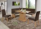 Eckbankgruppe Brienz - Buche Natur Dekor mit 2 Stühlen und 1 Säulentisch - Bezug beige braun