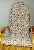 Rattani Auflage/Polster für Schaukelstuhl, Liegestuhl, Ersatzpolster Gr. 130 x 50 x 12 cm, Stoff Mirha Leinen Rose