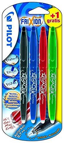 Pilot FriXion ball x 3 + 1 (NBR + V ou B) Stylo roller à encre gel non rétractable Noir/Bleu/Rouge/Bleu ou Vert