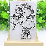 Ranuw Transparent Stempel (Mädchen Blume) DIY Handwerk Silikon Clear Stamps Für Album Foto Sammelalbum Präge Scrapbooking
