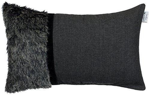 Brandsseller Hochwertiges Design-Kissen (Oscar) Dekokissen/Zierkissen in Fell - Stoffoptik Rückseite in Samtfleece - Größe: 50 x 30cm - Farbe: Anthrazit