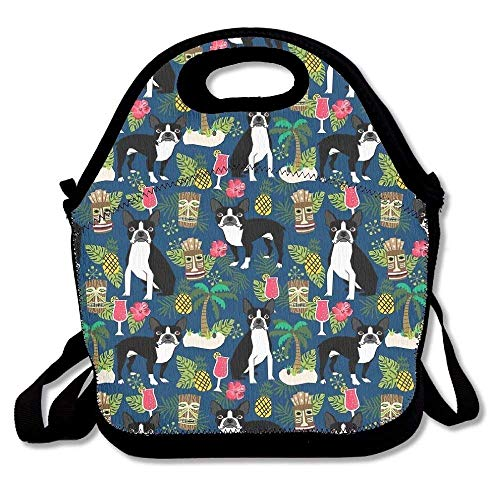 Boston Terrier Tropical Palm Trees Lunch Bag