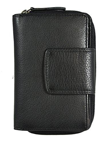 echt Leder Damen Geldbörse Portemonnaie RFID NFC Schutz Blocker Jockey Club Nappaleder schwarz / rot (Damen-geldbörse High-end)
