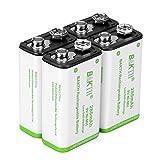 BAKTH Pilas Recargables NiMH 9V 280mAh Rendimiento más Alto Ni-MH de Batería (4 Piezas)