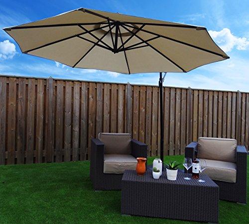 Sonnenschirm Ampelschirm | Beige / Sand | Ø 300 cm | Rund | SORARA | Polyester 180 g/m² (UV 50+)| Kurbel Mechansimus | Incl. Kreuzfuß for Parasol
