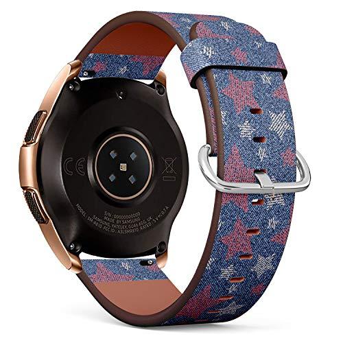 Art-Strap Kompatibel mit für Samsung Galaxy Watch (42MM) - Leder-Armband Uhrenarmband Ersatzarmbänder mit Schnellverschluss (Jeans Rosa Sterne)