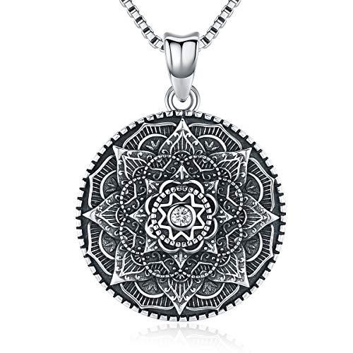 Aniu Halsketten für Frauen, Mandala Blume Silberkette Damen 925 Oxidierter Stil, Anhänger Geschenke für Freundin, Mama und Geburtstag mit 46cm Kette, Schmuck mit Geschenkbox