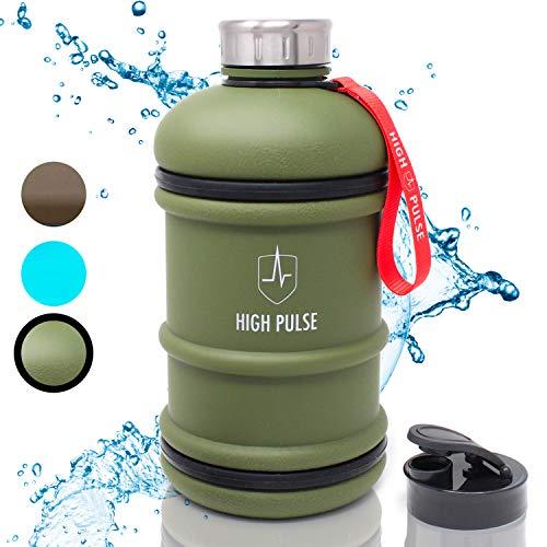High Pulse® XXL Water Jug mit Trinkaufsatz + Edelstahlkappe (2 l) - Die auslaufsichere Trinkflasche mit Handgriff ist der ideale Begleiter für Ihr Fitness- und Krafttraining - 100{1fd169990a0adc9addbac6359fb2c2b83629388a56dd87852d3ca7b758050867} BPA-frei (Grün)