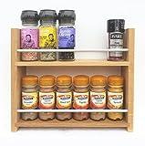 SilverAppleWood Eiche massiv Spice Rack–nimmt bis zu 12Gewürz- und Kräuter Gläser–Tiefe Kapazität für größere Gläser und Flaschen–2Ebenen/Regalen