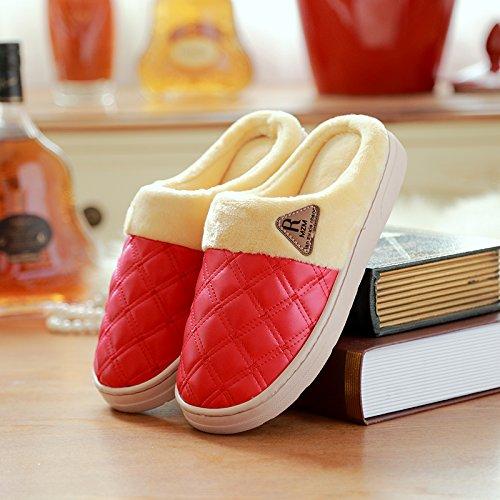 DogHaccd pantofole,Inverno pantofole in pelle donna home soggiorno spesso uomini pantofole di cotone pantofole inverno trascinare in cotone Il rosso2