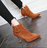 KHSKX Caramel-Colored Metall Große Riegel In Satin Damen Schuhe High Heels Einfache Und Schlanke Mädchen Mit Kurzen Stiefeln Seite Reißverschluss Damen Stiefel 35
