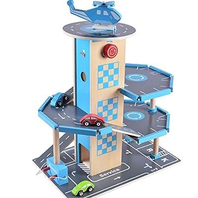 B&Julian Holz Parkhaus Garage 3 Etagen mit Aufzug 4 Autos und Hubschrauber Spielzeug für Kinder von Zaprori GmbH