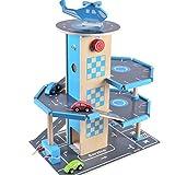B&Julian Holz Parkhaus Garage 3 Etagen mit Aufzug 4 Autos und Hubschrauber Spielzeug für Kinder
