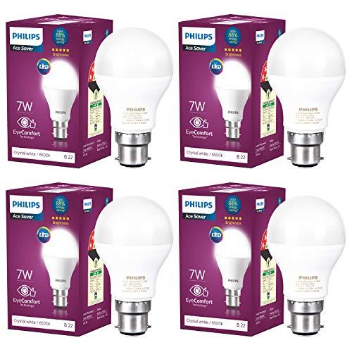 Philips Base B22 7-Watt LED Bulb (Pack of 4, Cool Day Light)