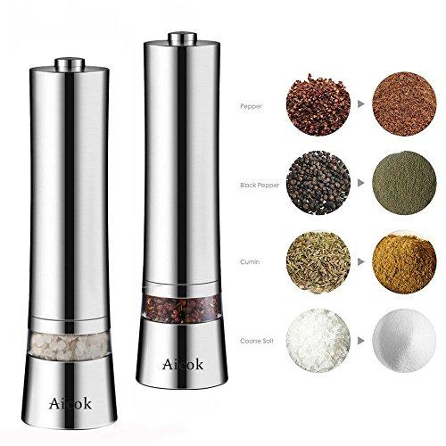 Aicok Salz und Pfeffermühle, Elektrische Gewürzmühle mit einstellbarer Feinheit 2er Set, Silber