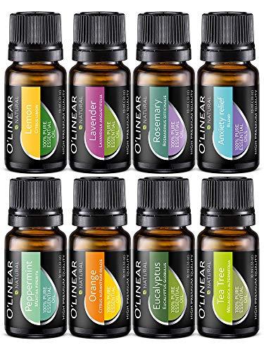 Ätherische Öle Set (8x10ml) - Essential Oil für Aromatherapie - Duftöl für Diffuser - 100{a48d8f31a9064bc2927ee60ed0b75b596c3ae3b469423e7e73b91efec753beb5} Rein Öle - Lavendel, Pfefferminz, Rosmarin, Orange, Teebaum, Eukalyptus, Zitrone, Anti-Stress Öl