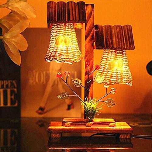 Pas cher Lampe De Table 220 V Pastorale En Bois Art Lampe De Table Double Ampoule Night Light Chambre Table Salon Éclairage Intérieur Lumière Chaud