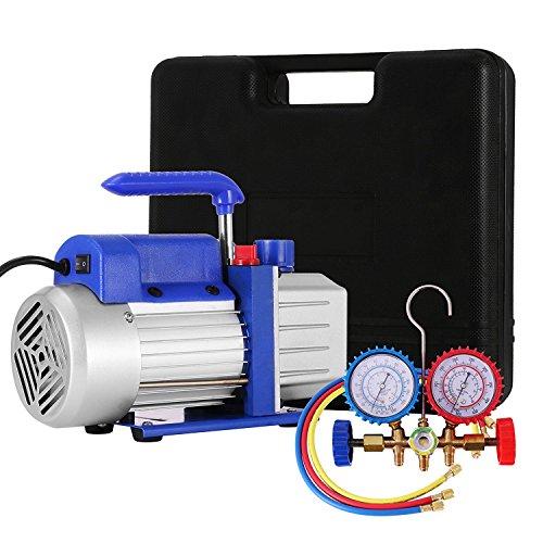 BananaB 4CFM 1/4HP Vakuumpumpen-Kit HVAC Vacuum Pump Einstufige Klimaanlage Kältemittel-Drehschieber-Vakuumpumpe mit 1 Ventil R134a A/C Verteiler-Manometer-Set