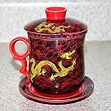 c ramique blanche en porcelaine chinoise de fleur tasse th avec couvercle filtre et soucoupe. Black Bedroom Furniture Sets. Home Design Ideas