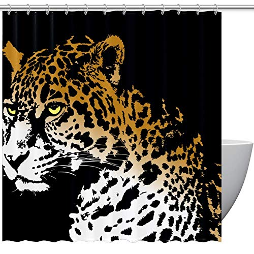 MUMIMI Shower Curtains Animal Jaguar Print Print Eco-Friendly Fabric Shower Room Curtain Durable Waterproof Home Bath Curtain Sets with 12 Hooks,72 x 72 inch