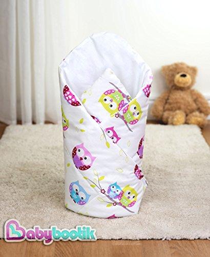 Wickeltuch / Decke für Neugeborene, 80x80cm, Eulenmotiv, Pink