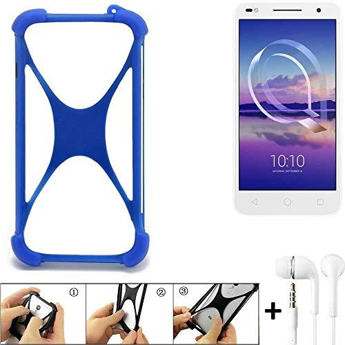 K-S-Trade Bumper für Alcatel U5 HD Dual SIM Schutzhülle Handyhülle Silikon Schutz Hülle Cover Case Silikoncase Silikonbumper TPU Softcase Smartphone, Blau (1x), Headphones