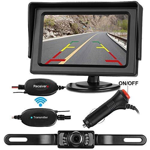 leekooluu inalámbrico RC 12V–24V Vista Posterior de Copia de Seguridad cámara y Monitor Kit para Coche/vehículo con 7LED de visión Nocturna