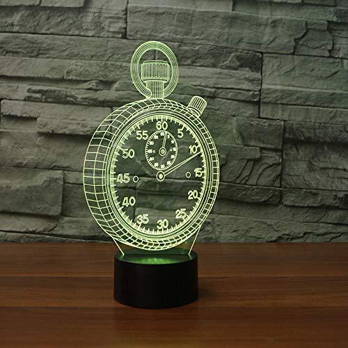 QingMuMu Montre de Poche Horloge Forme 3D Lampe LED 3D Veilleuse Lampe de Table colorée en Cadeau de Jouet pour bébé