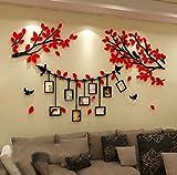 Alicemall Vinilos Arbol con 9pcs Marcos de Foto Pegatinas de Pared con Hojas Rojo 1.5*0.86m para Sala de Estar Salon Pegatinas 3D