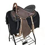 HenLooo Reitersattel aus Rindsleder, Brustkragen, 18 Zoll Sitz verfügbar,Brown,L