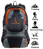Mountainbock Wanderrucksack 40 l Herren Damen Orange Schwarz - Camping Trekkingrucksack wasserdicht - Rucksack mit Regenschutzhülle - 2019