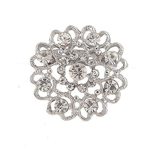 Wimagic 1X Broche Bijoux Femme Fleur Broche Coeur ajourée de Diamants Sauvage Broche epingle a nourrice Broche Femme Pas Cher Broche Bijoux Cheveux Mariage Breastpin élégant Bouto