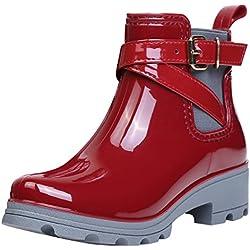 Botas de Agua Bota de Goma Mujer Impermeable lluvia Zapatos Tobillo Casual Calzado, Rojo 35