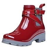 ukStore Damen Gummistiefel Regenstiefel Kurzschaft Stiefel Blockabsatz Chelsea Boots Rain Schuhe, Rot 40