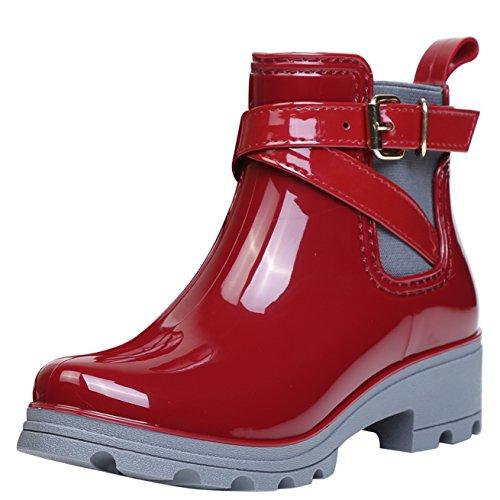 Botas de Agua Bota de Goma Mujer Impermeable lluvia Zapatos Tobillo Casual Calzado, Rojo 37