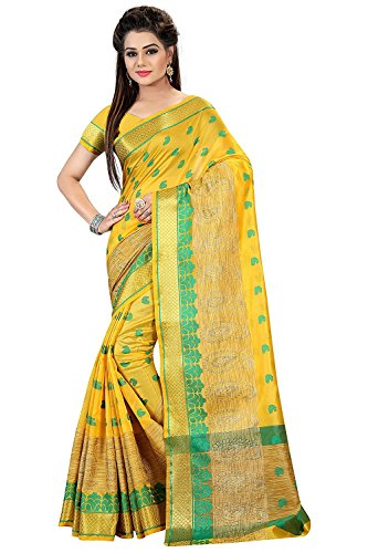 Royal Export Women's Cotton Silk Saree (Yellow)