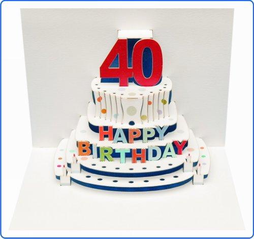 Pop Up 40th Birthday Laser cut Pop Up Card