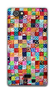 The Racoon Lean Colourful Quilt hard plastic printed back case / cover for Sony Xperia Miro